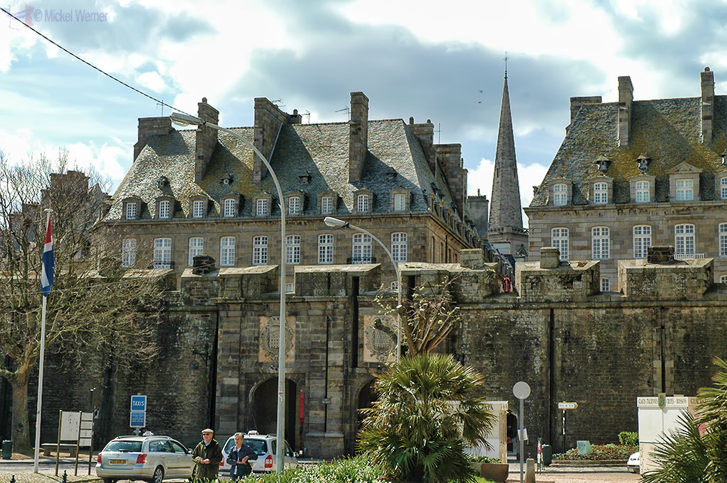 Outside one of the main gates, Porte Saint-Vincent, of the St. Malo fortress