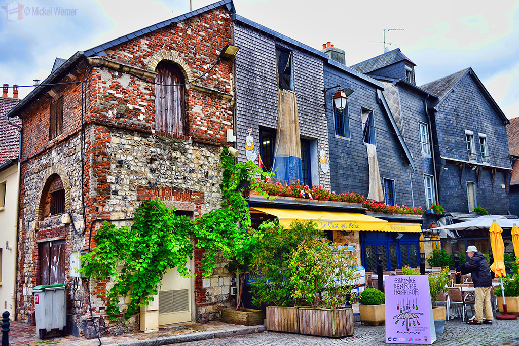 Restaurants in an old square of Honfleur