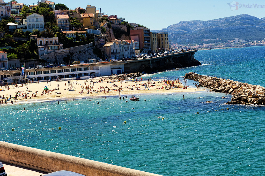 One of the beaches along the President Kennedy Boulevard of Marseilles