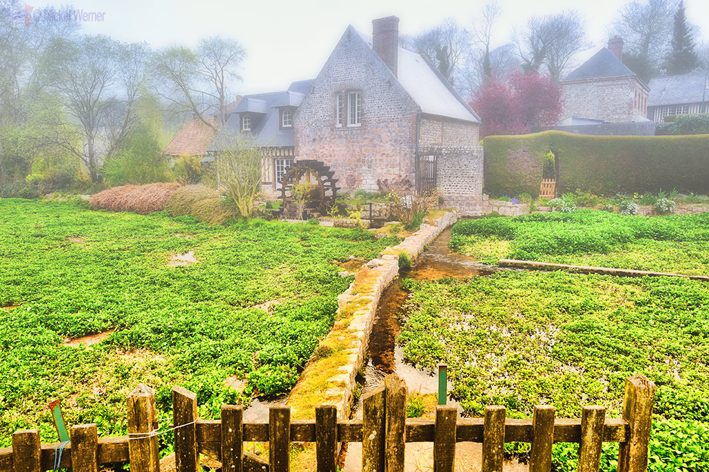 Watermill alongside a watercress field at Veules-Les-Roses