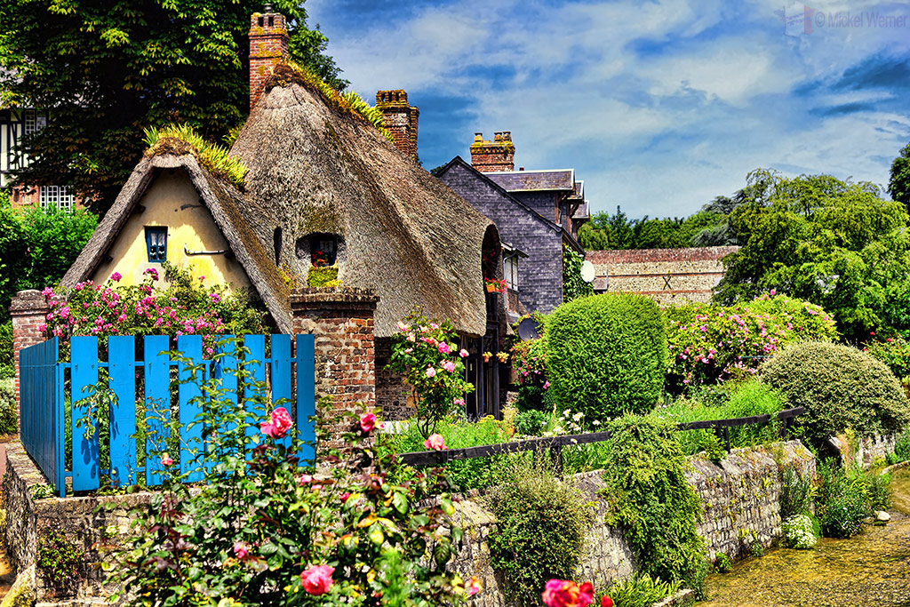 Thatched roof houses on the Veules river of Veules-les-Roses