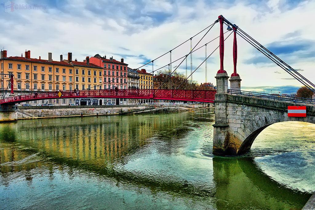 The Saint George bridge over the Saone river in Lyon