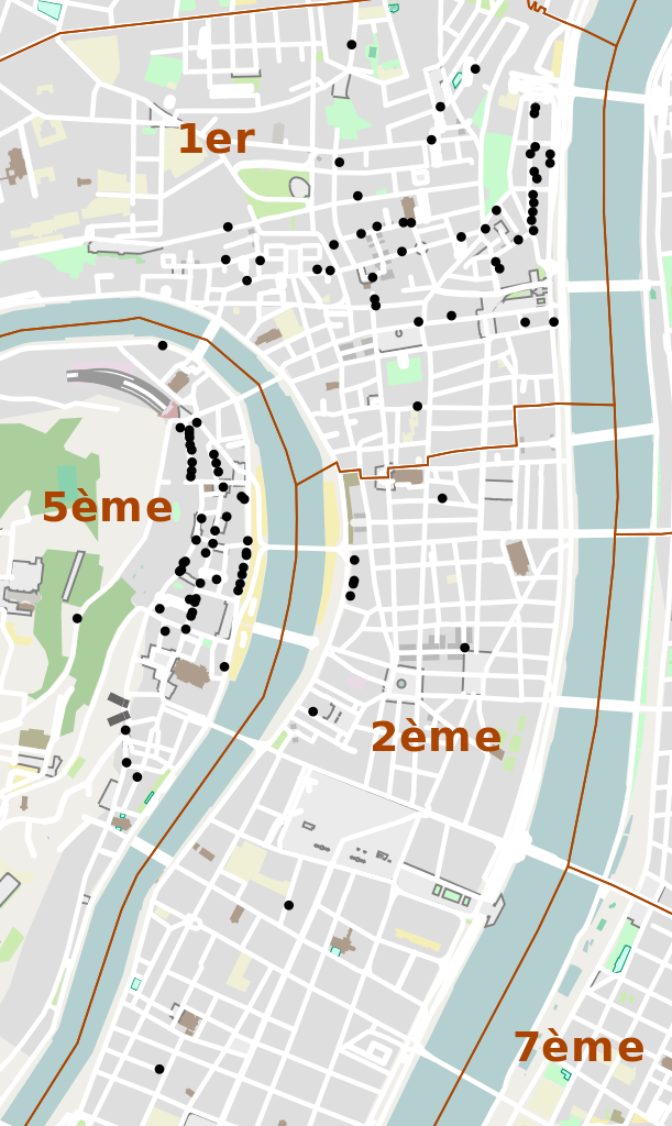 Map of all the traboules in Lyon