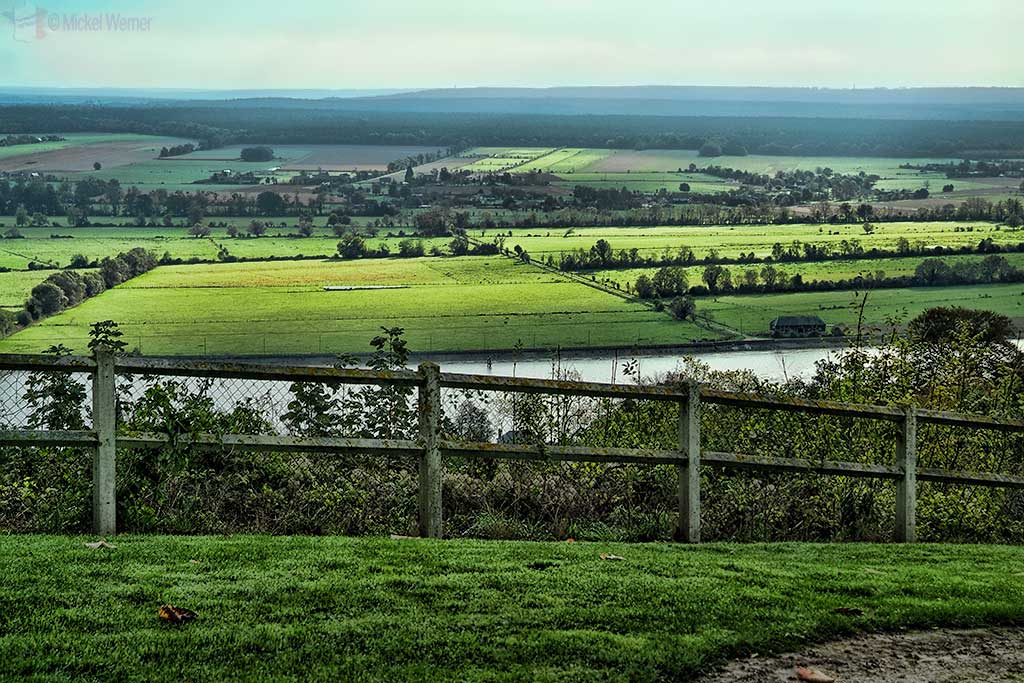 View of the Seine river and valley from the Chateau de Villequier at Villequier