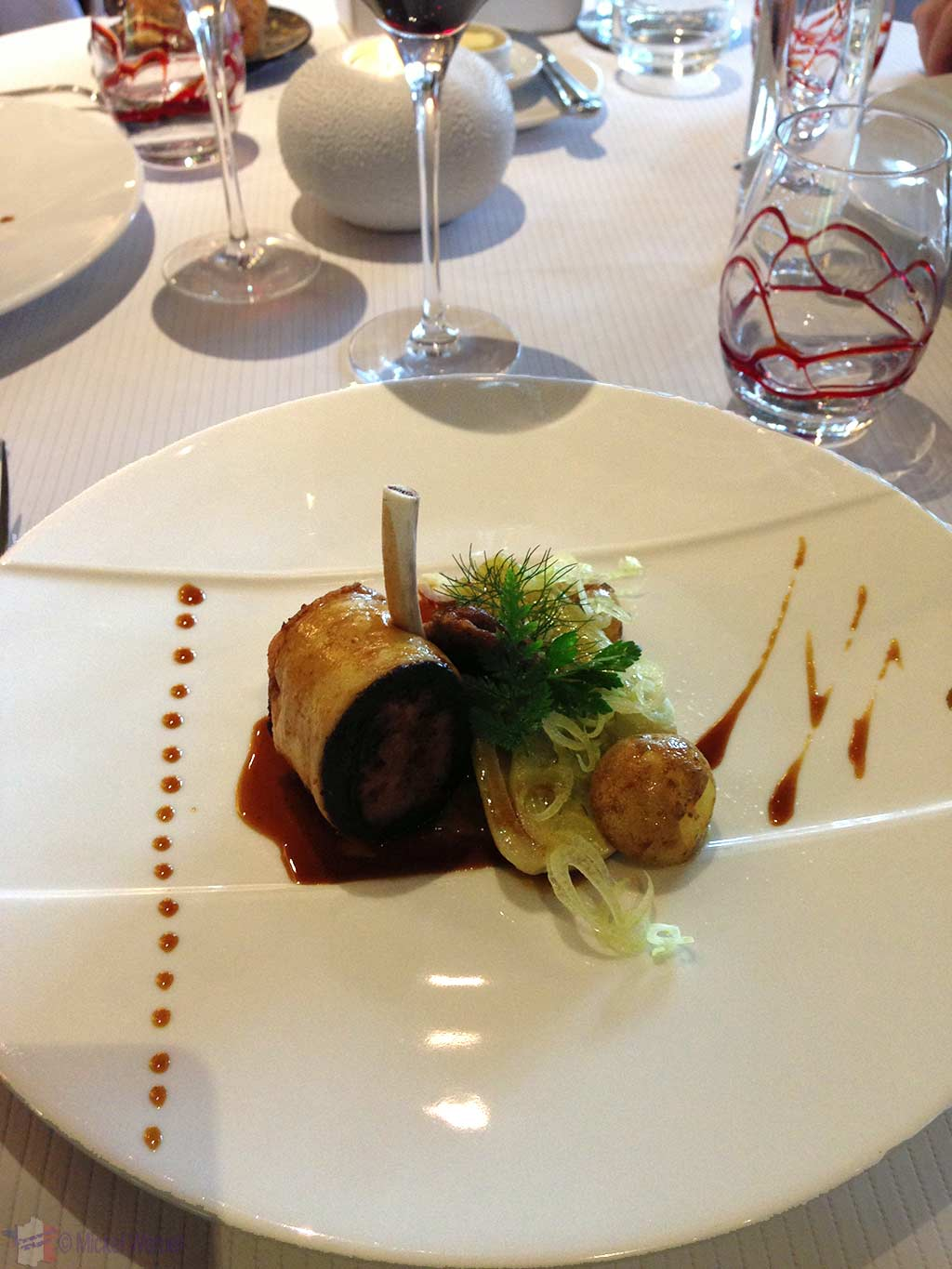 Lamb chops at the Le Bec Au Cauchois/Pierre Caillet restaurant in Valmont, Normandy