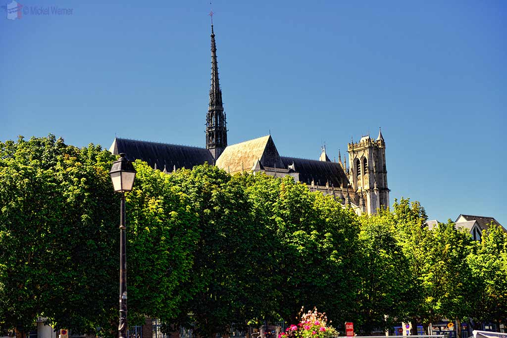 Cathedral seen from the Hortillonnages (floating gardens) in Amiens