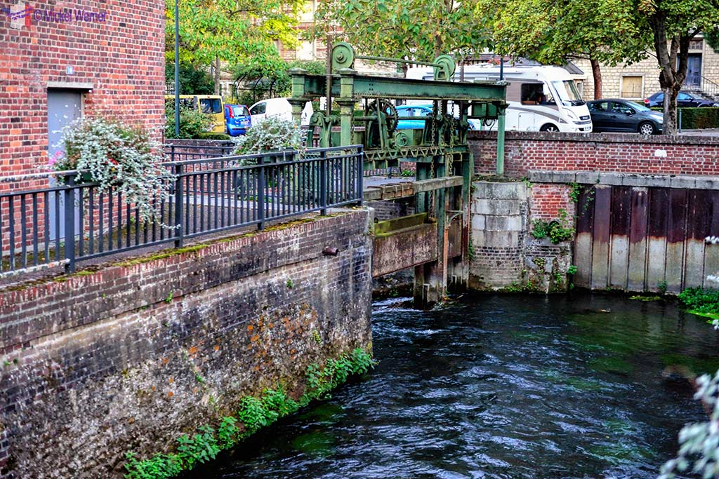 River and locks in Lisieux, Normandy