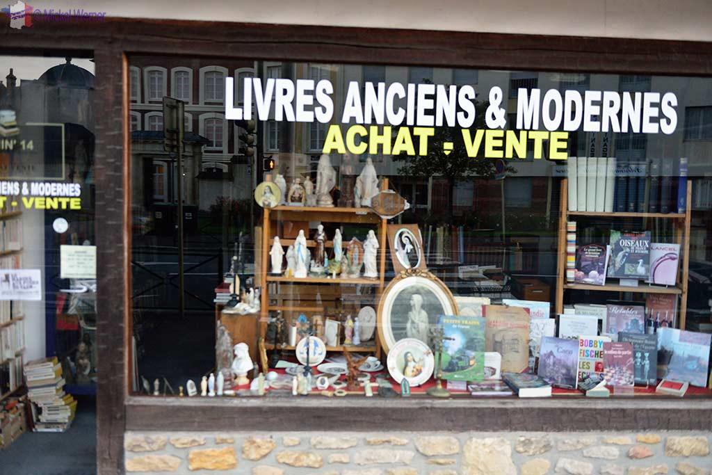 One of many religious souvenir shops in Lisieux, Normandy