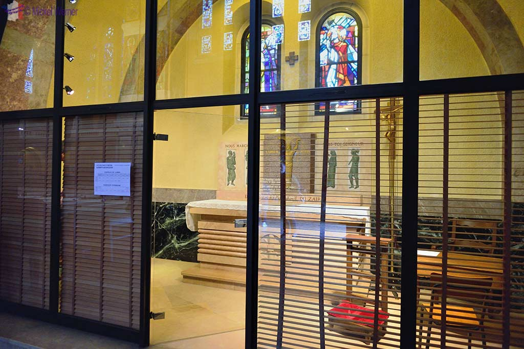 Priest office inside the Basilica of St. Therese in Lisieux, Normandy