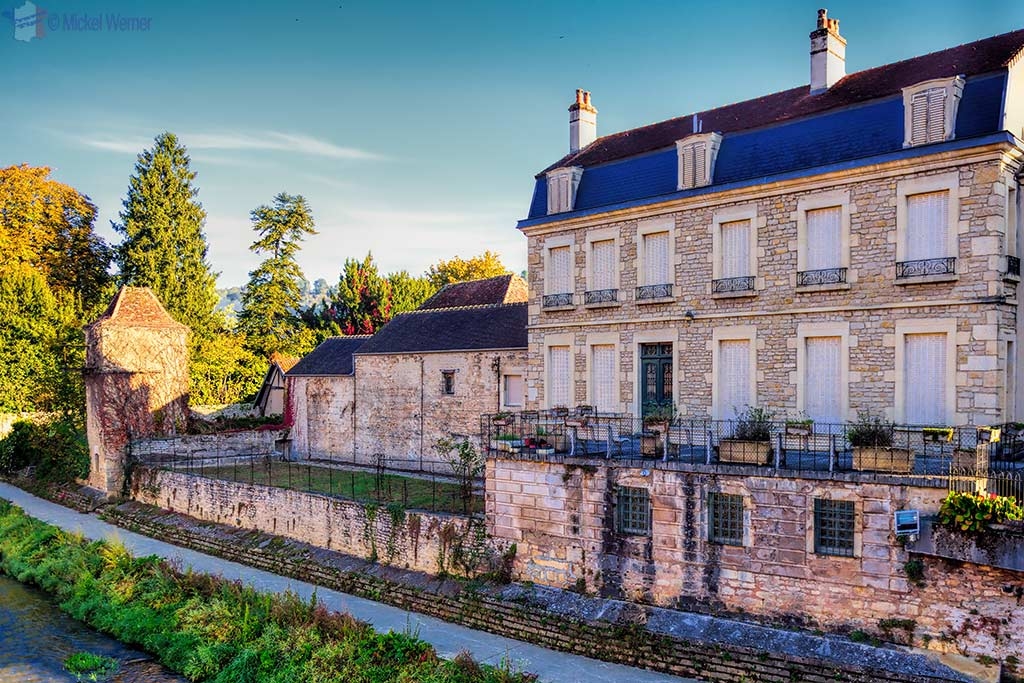Old house near the Brenne river in Montbard, Burgundy