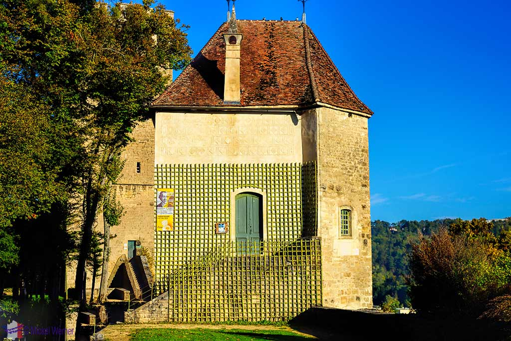 Saint-Louis tower of the Montbard Castle inside the Buffon Park in Burgundy
