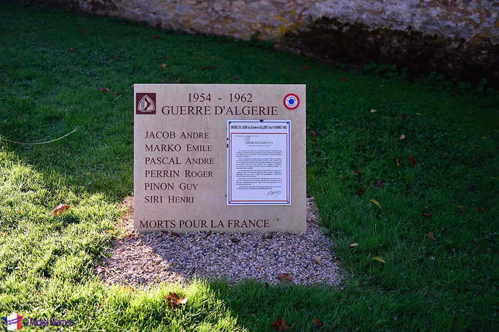 "Algerian wars ""monument"" in front of the Saint-Urse church of the Montbard castle in Burgundy"
