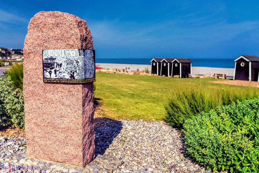 Sainte-Marguerite-sur-Mer in Normandy with its WWII Memorial dedicated to the Canadians.