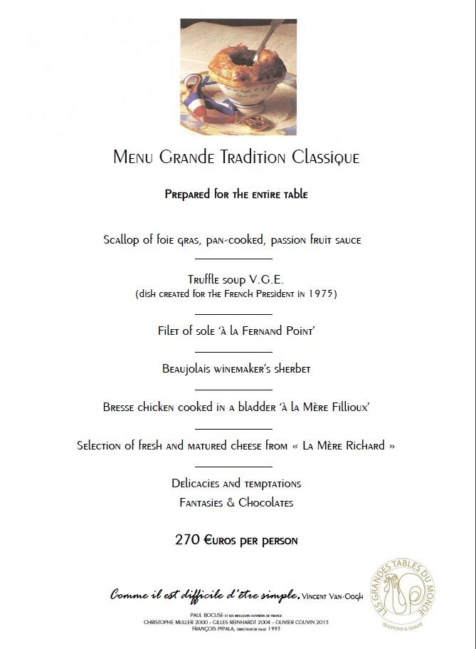 Paul Bocuse's discovery menu