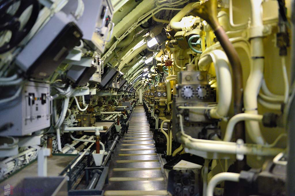 Part of the engine room the Redoutable, nuclear submarine of the French navy at the Cite de la Mer in Cherbourg