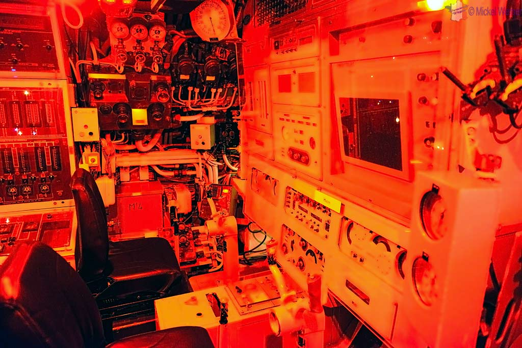 Steering station of the Redoutable, nuclear submarine of the French navy at the Cite de la Mer in Cherbourg