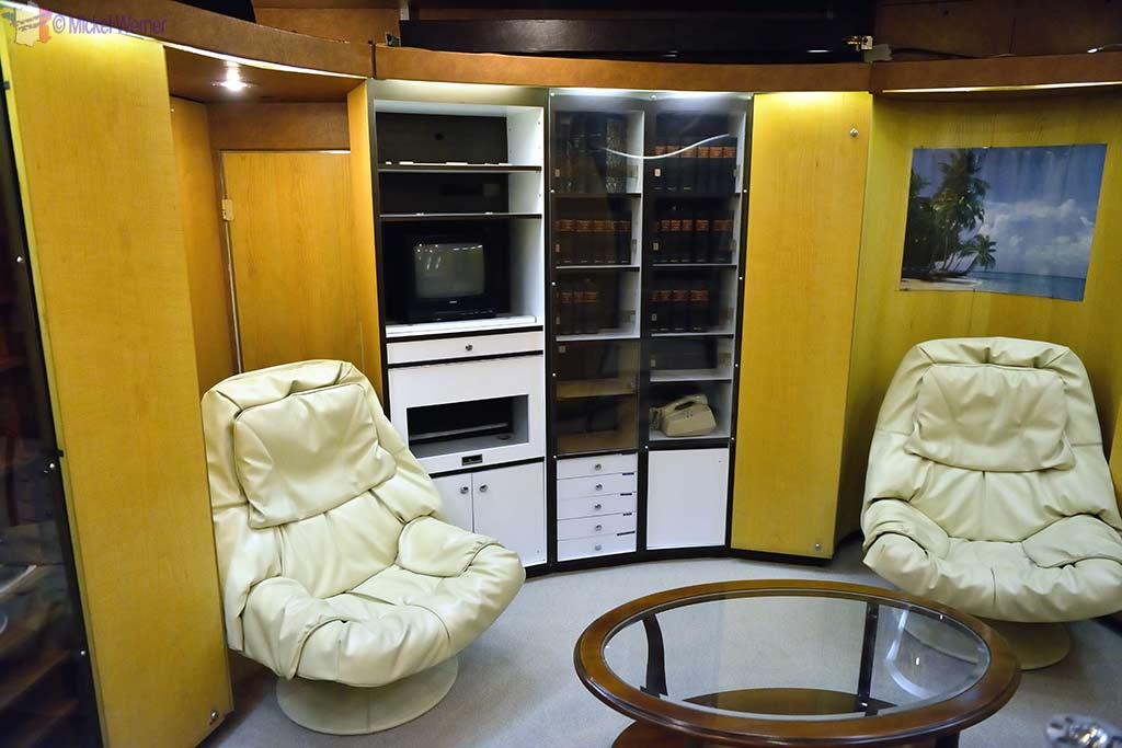 "Officers ""leisure"" room in the Redoutable, nuclear submarine of the French navy at the Cite de la Mer in Cherbourg"