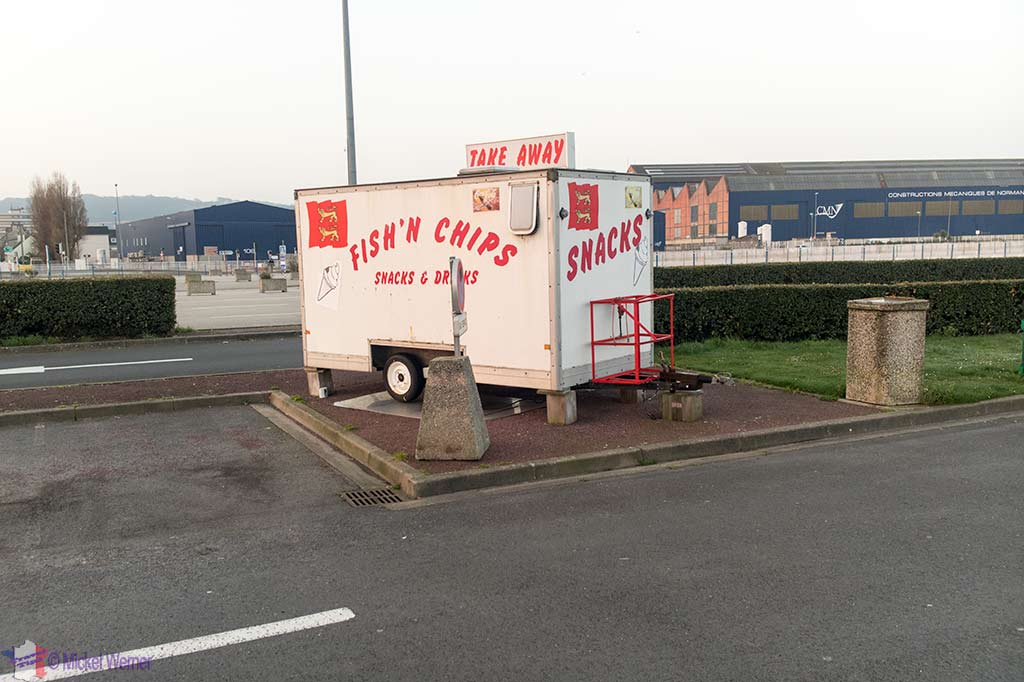 Fish & Chips van at the Ferry Terminal building in Cherbourg