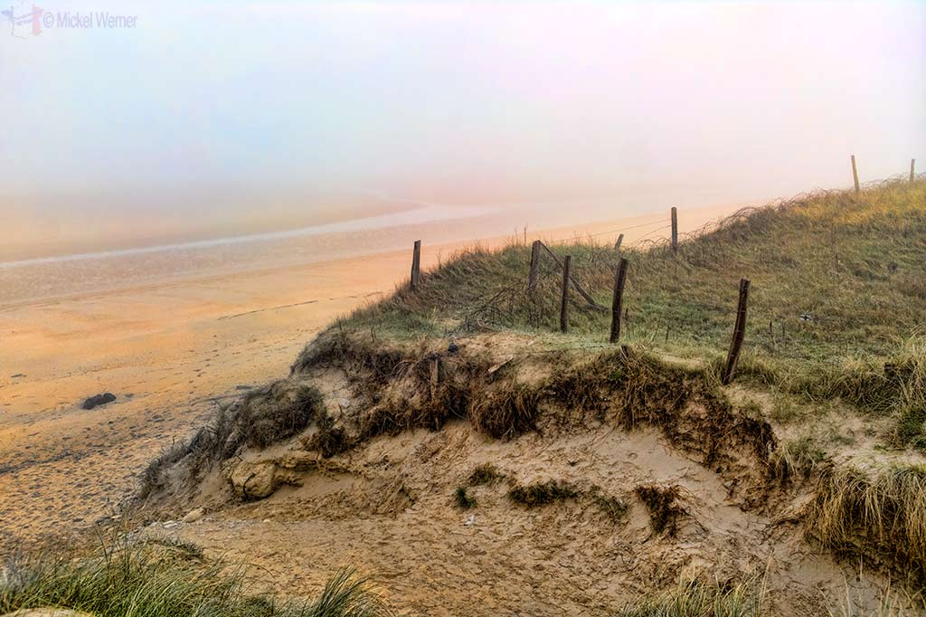 Fortified dunes and the Utah landing beach in Normandy
