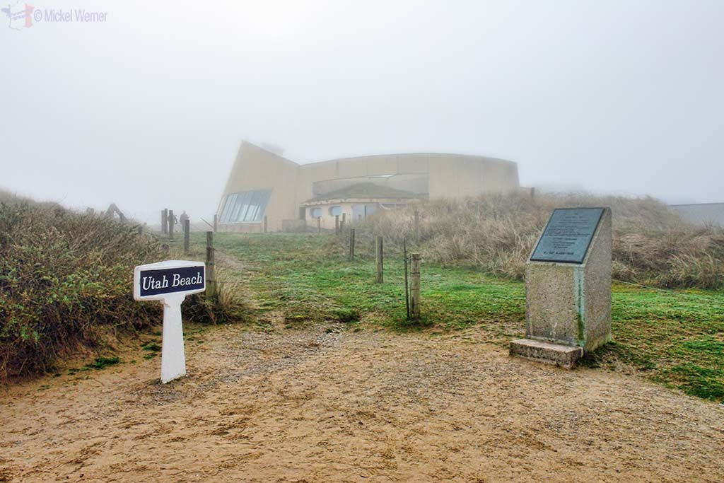 Utah Beach sign and museum building