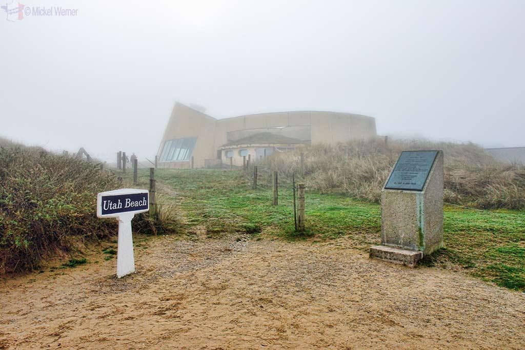 Utah Beach sign and museum building