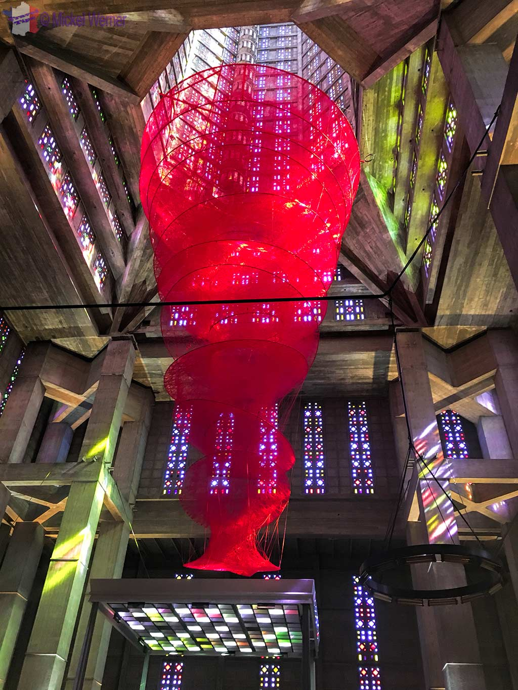 Red twine sculpture above the Saint Joseph church alter, celebrating the 500 Years of Le Havre