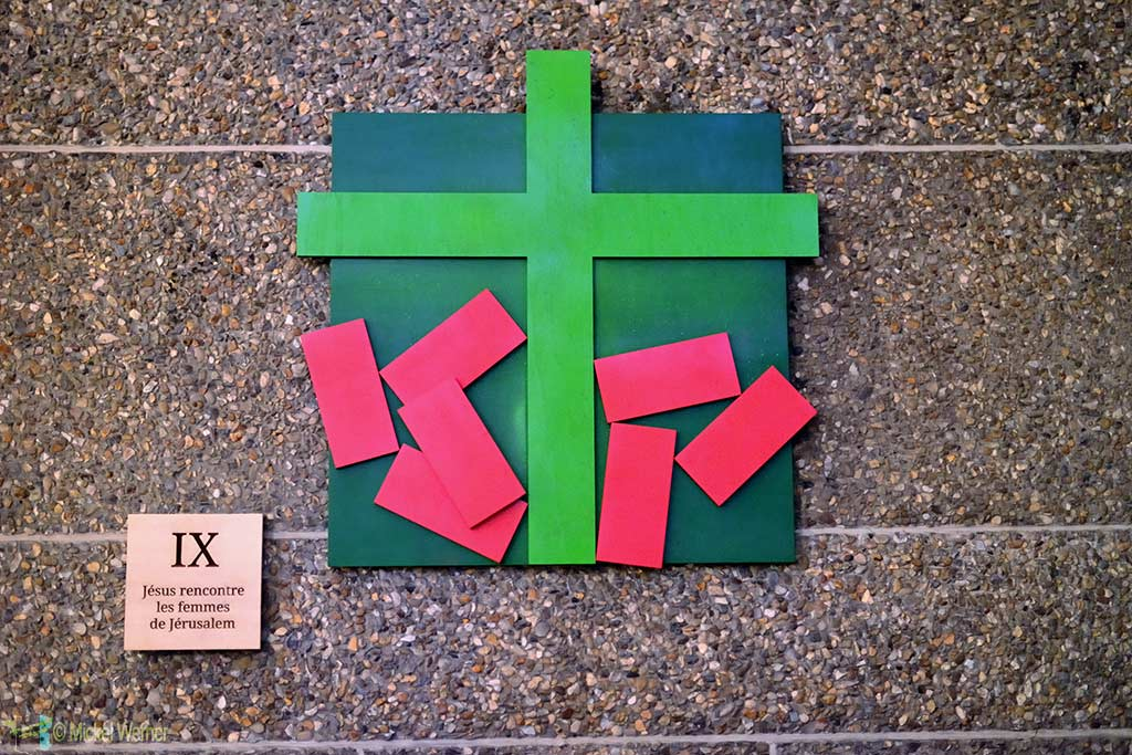Art symbolising the life of Christ in the St Joseph church during the 500 years celebration of Le Havre