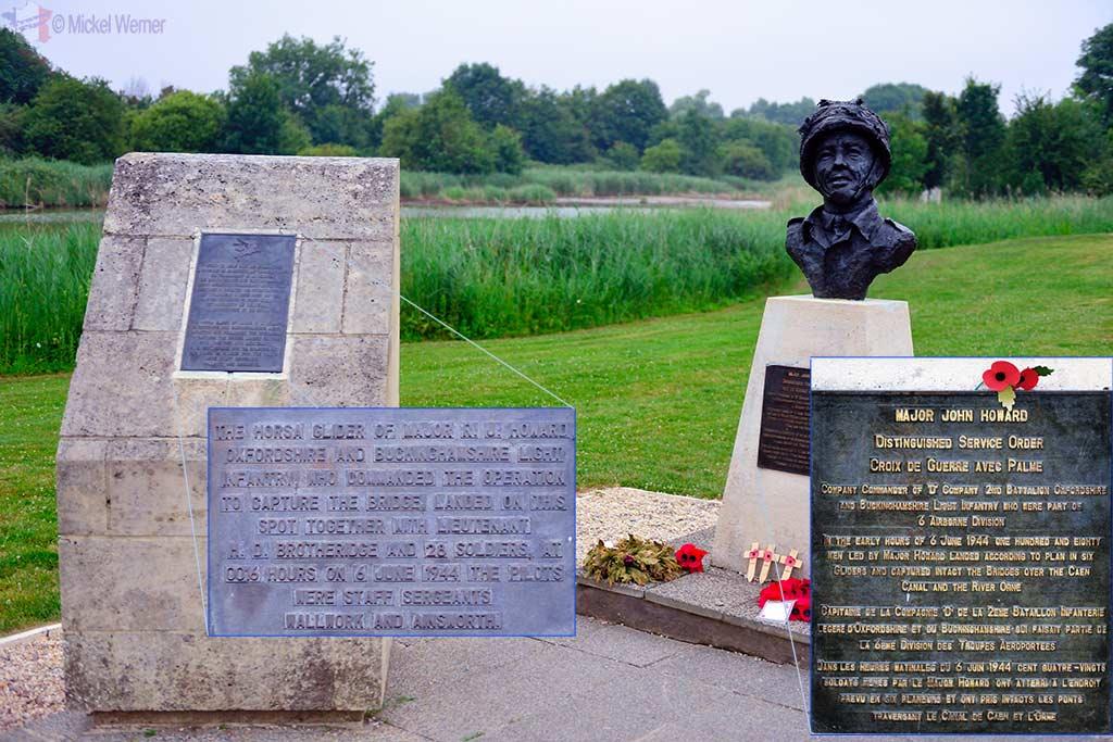 Memorial and Major John Howard statue at Pegasus Bridge