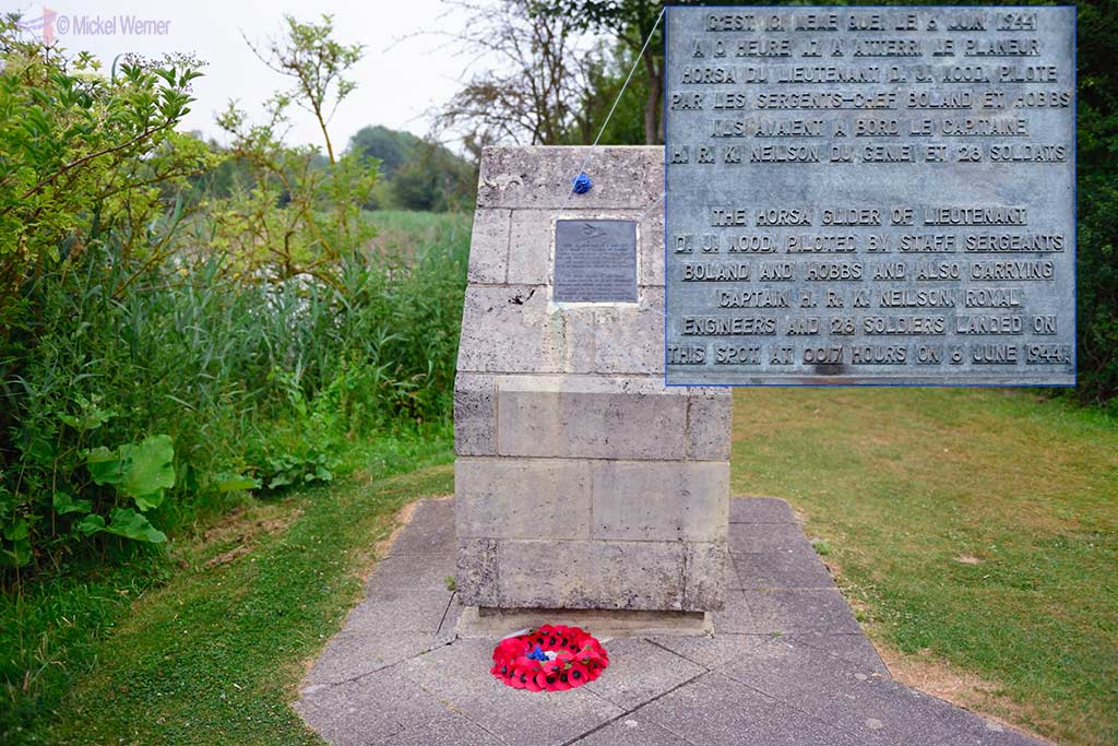 Memorial showing where the 2nd Horsa glider landed next to Pegasus bridge