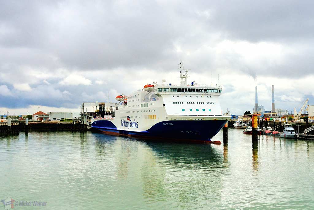 Brittany Ferries ship in the Le Havre harbour