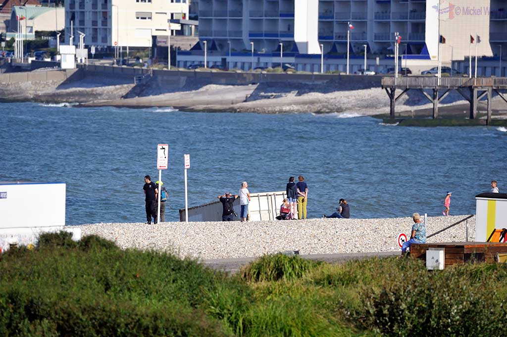 A container found on the beach, belonging to the Giant parade in Le Havre