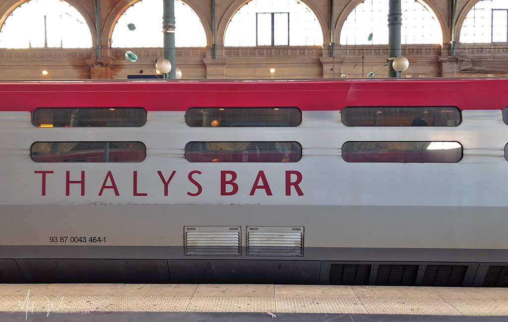 Bar/Restauration car on the Thalys High Speed Train, TGV.