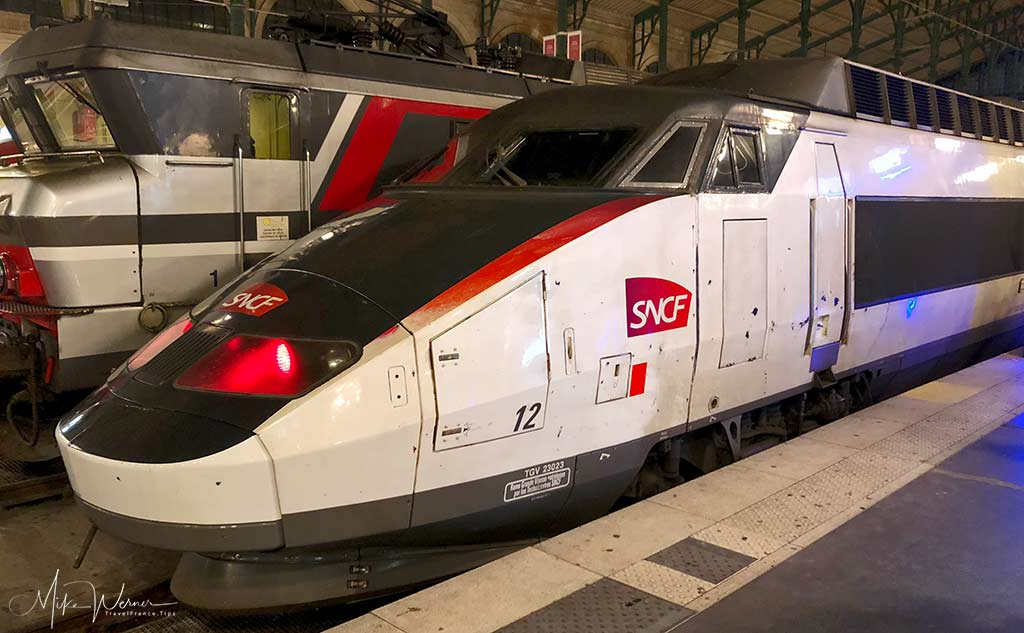 One of different colour coded TGV, High Speed Trains in France