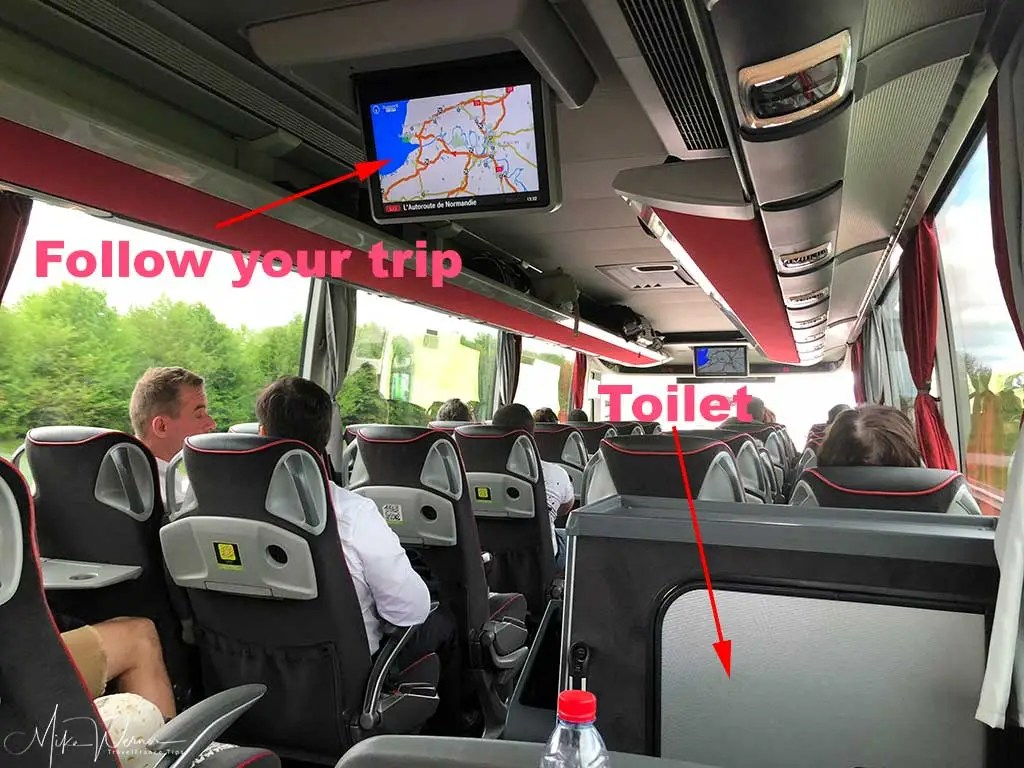 Flixbus interior, TV screens and toilet