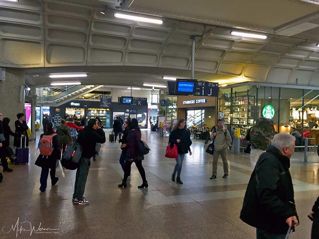 Inside the main Lyon railway station