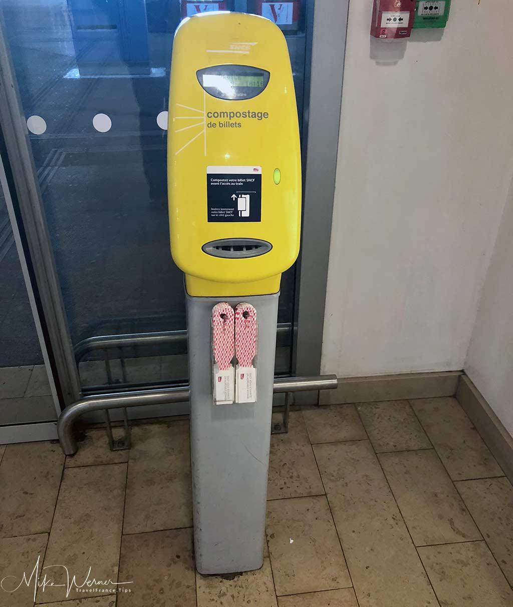 Railroad station tickets validating machines