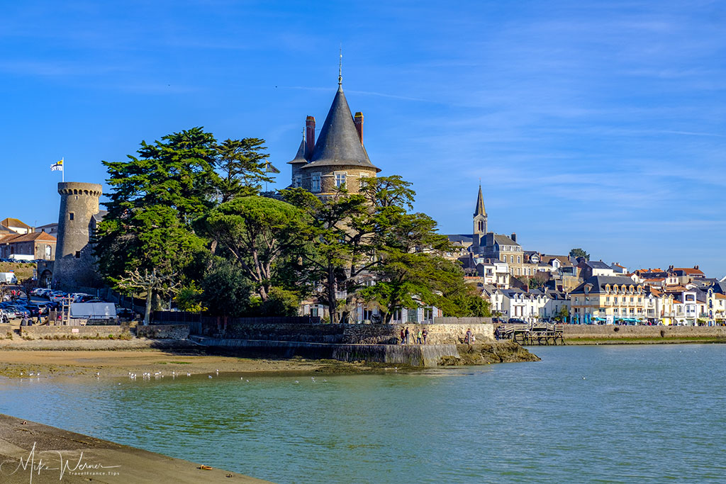 Located partially on the public beach, the castle of Pornic, Brittany can be seen up close.