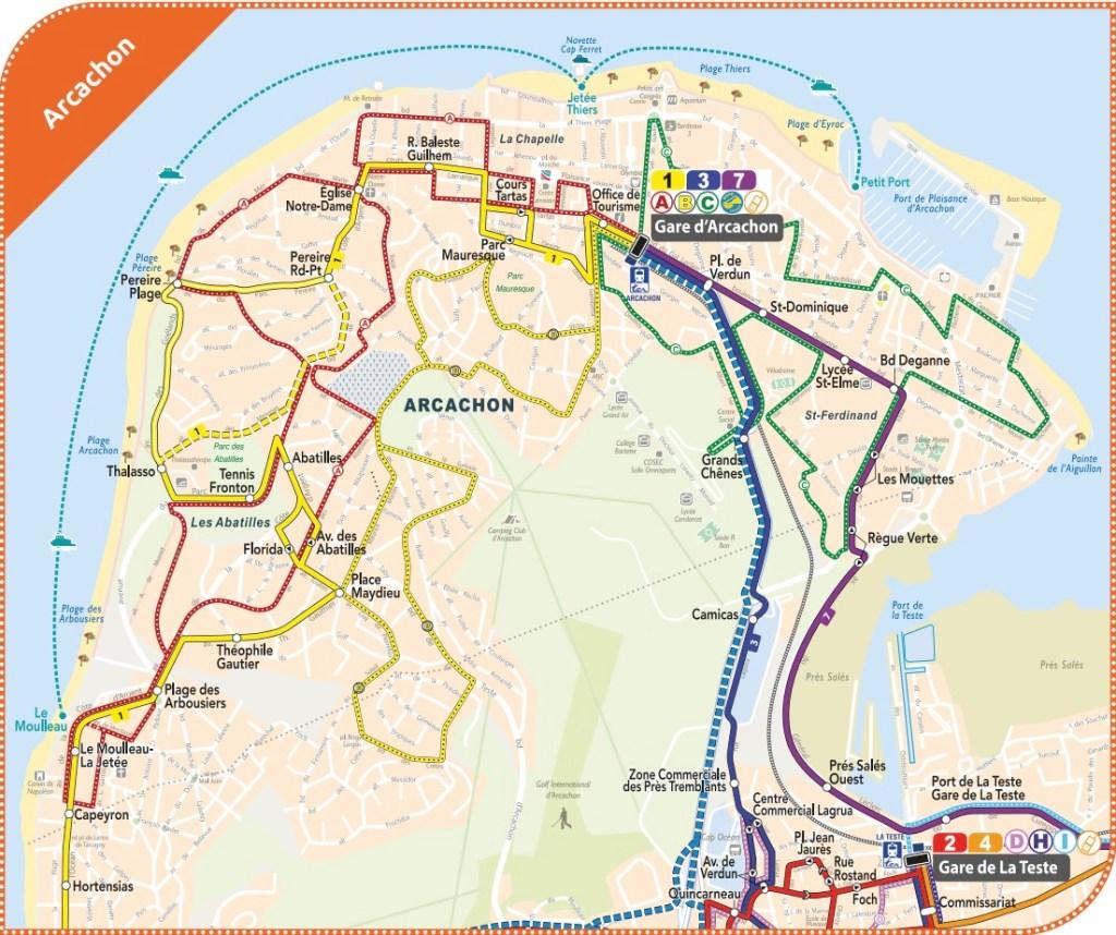 Arcachon Baia Bus network map