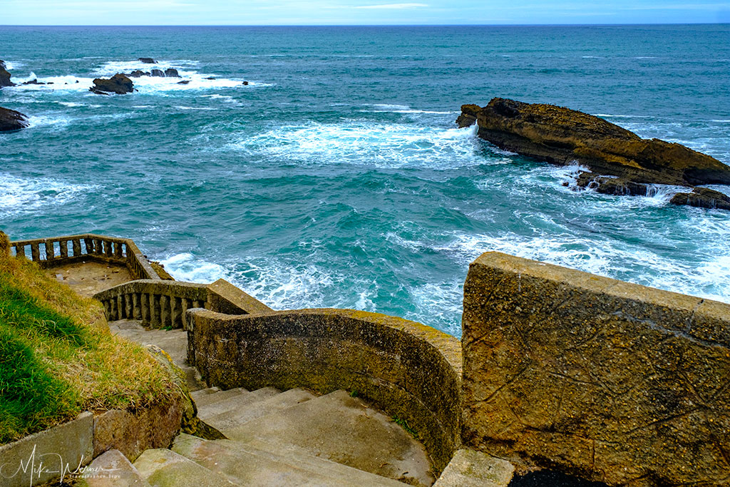 Part of the sea promenade in Biarritz