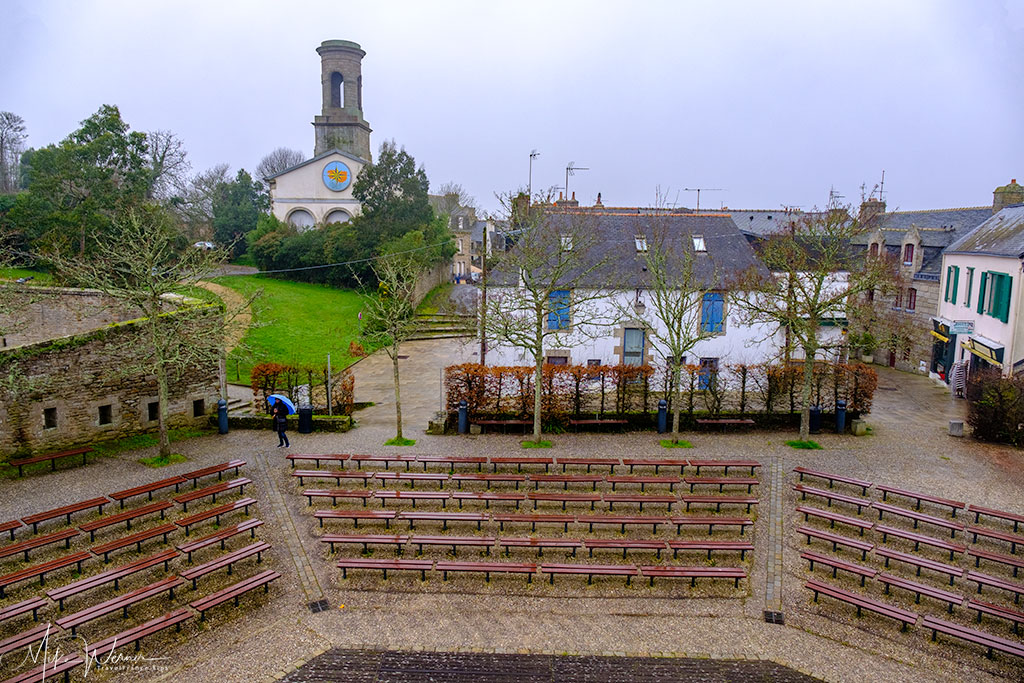 Sitting area seen from above in the open air theatre in the walled city of Concarneau