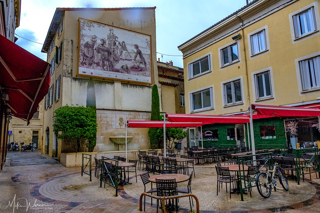 Cafes and terraces in the old city centre of Valence