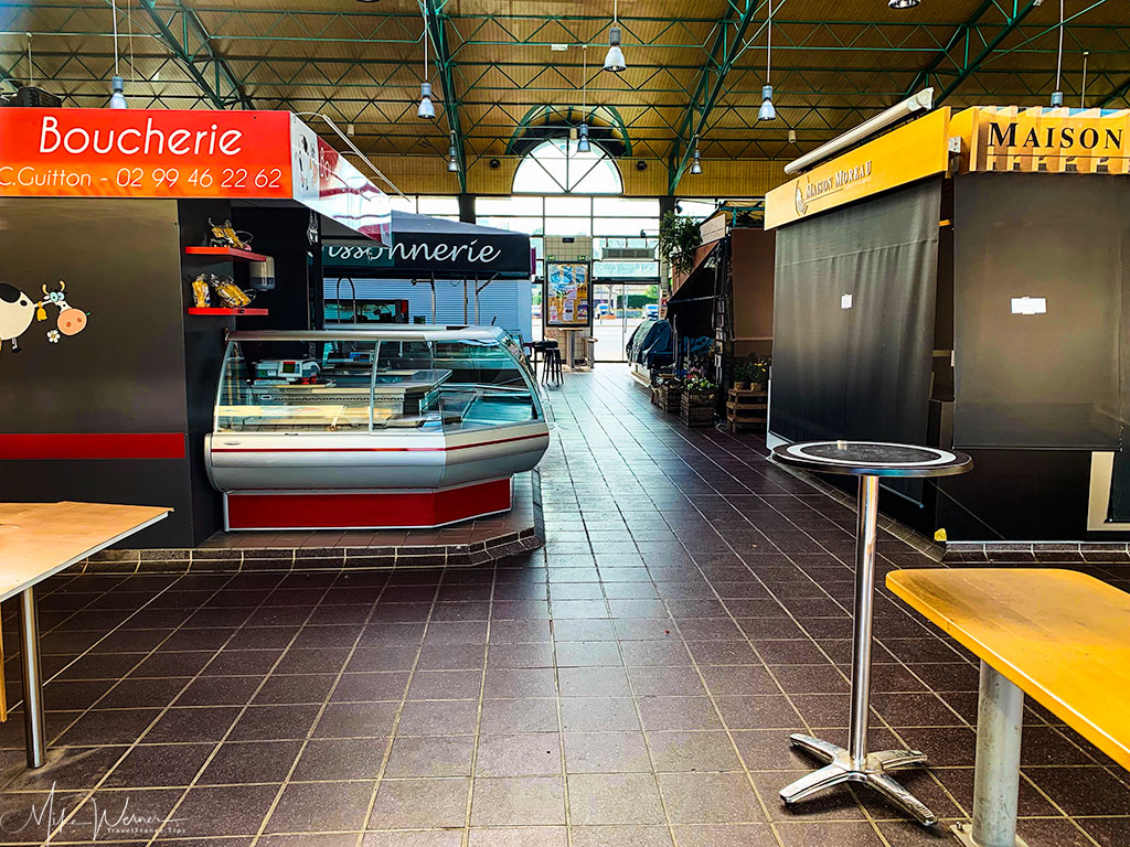 Inside the covered food market of Dinard