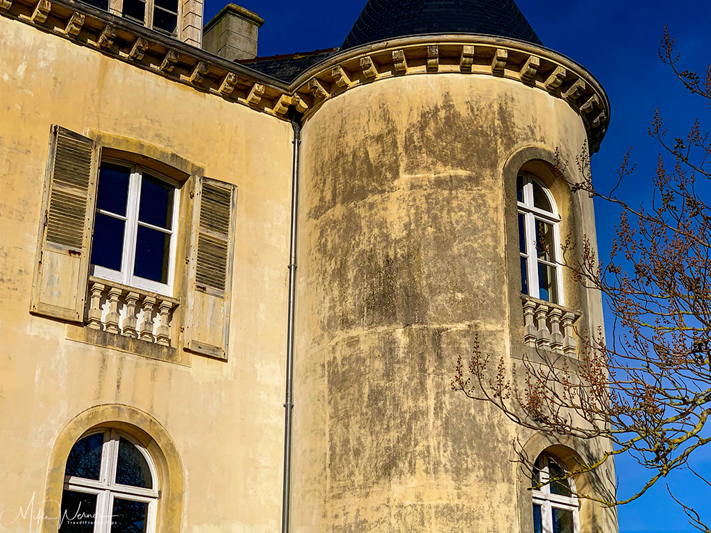 Close up of one of the 4 towers of the Villa Eugenie in Dinard