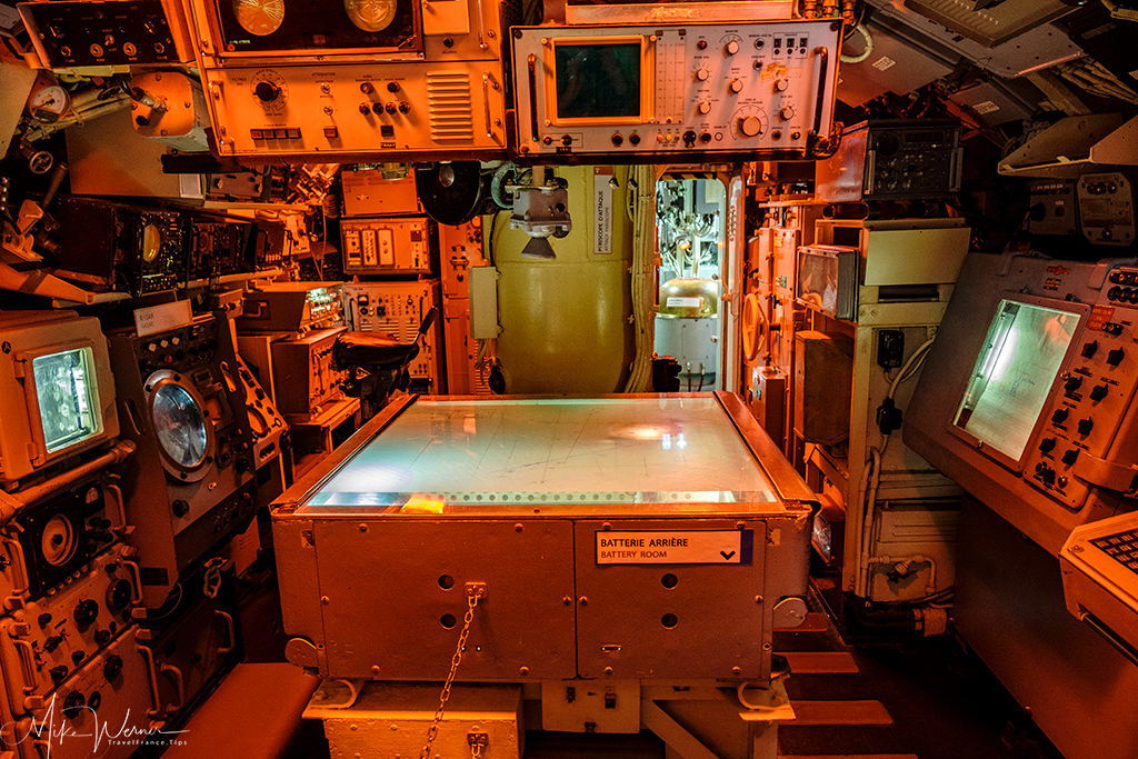 Chart table in the Flore submarine