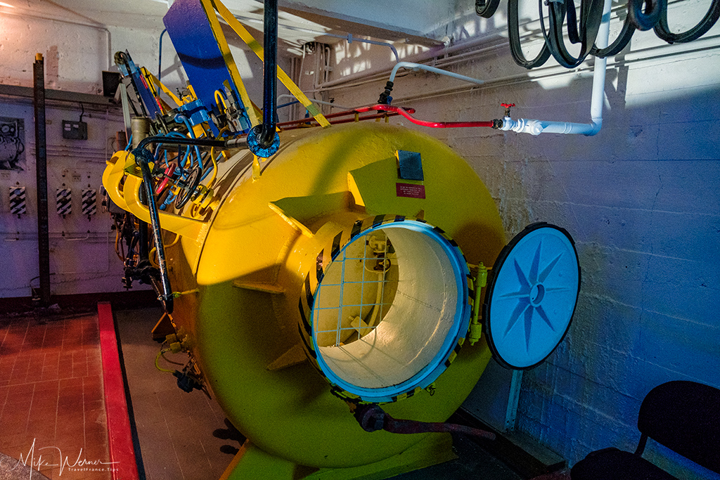 Diving decompression chamber at the Submarine (Sous-Marin) Museum of Lorient, Brittany