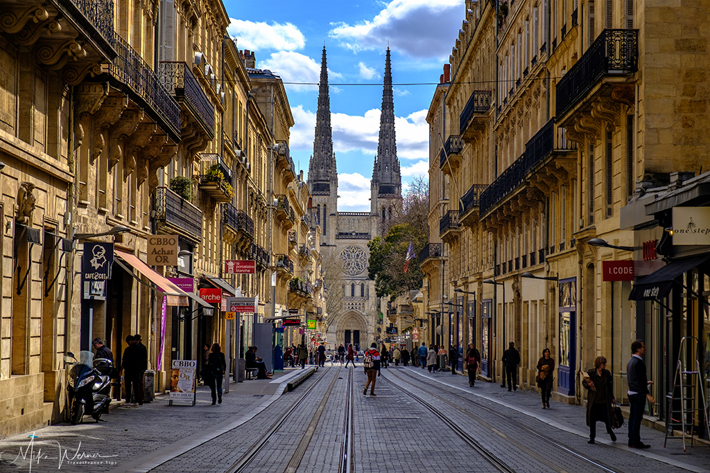 Road and tram track leading to the Bordeaux Cathedral