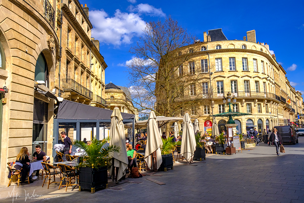 Terrace outside majestic buildings in Bordeaux