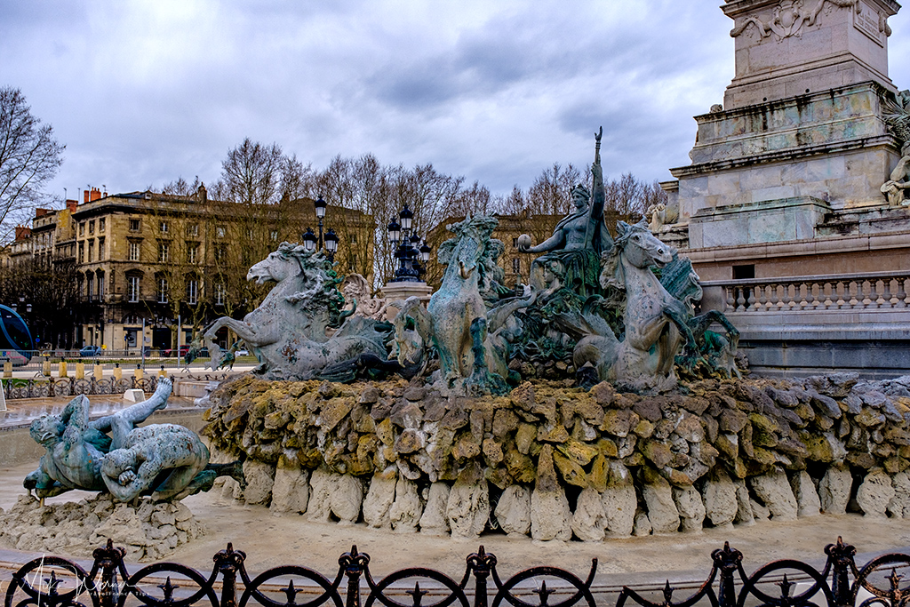 The sculpted fountains of the Gironde Monument in Bordeaux