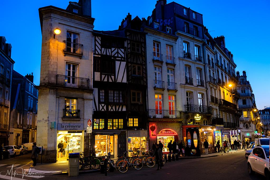 Several shops at nightfall in Nantes