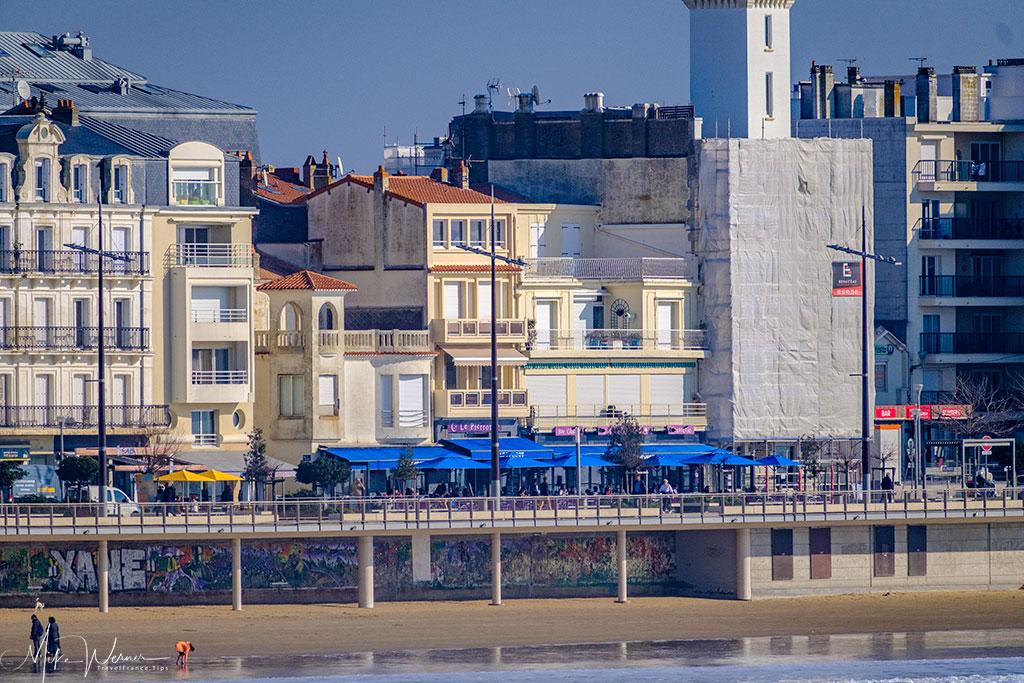 Restaurants alongside the modern high rises on the beach front of Les Sables-d'Olonne